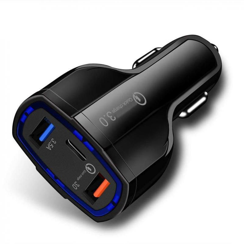 48W 3-PORT FAST USB CAR QUICK CHARGER POWER ADAPTER TYPE-C PORT for SMARTPHONES